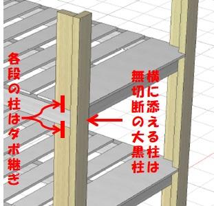 各段の柱はダボ継ぎする