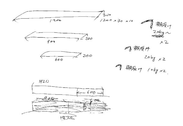 キッチンシェルフ 設計図 木とり図