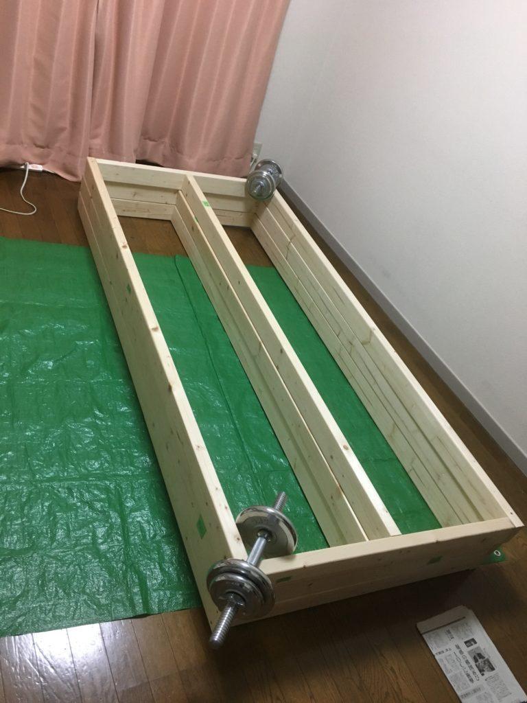 床板枠の三段重ね