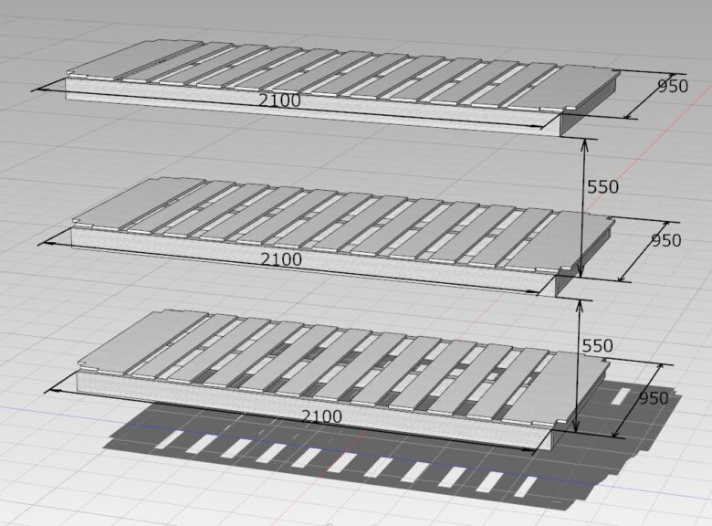 床板のサイズと、格段の高さ