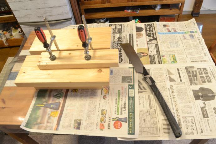 作業台に木材を固定