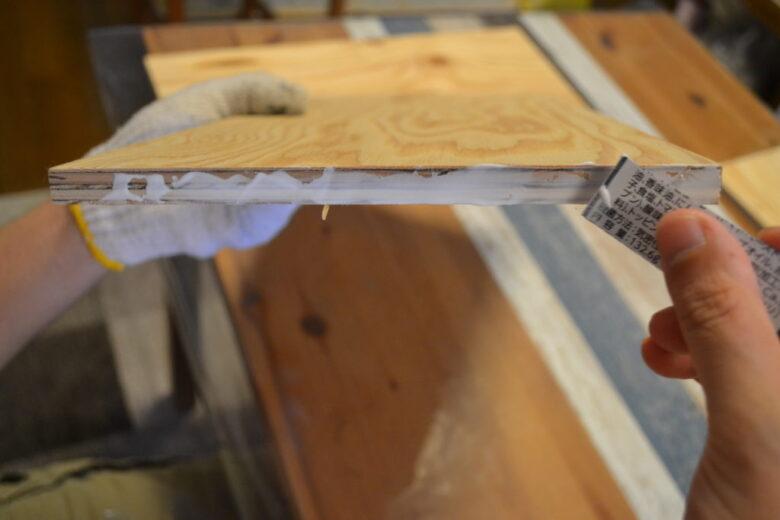 木口なのでボンドがよく浸みこみます