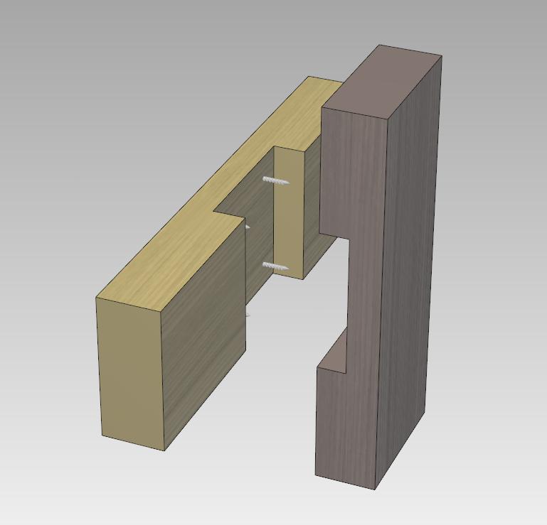 両方の木材をこのように加工して