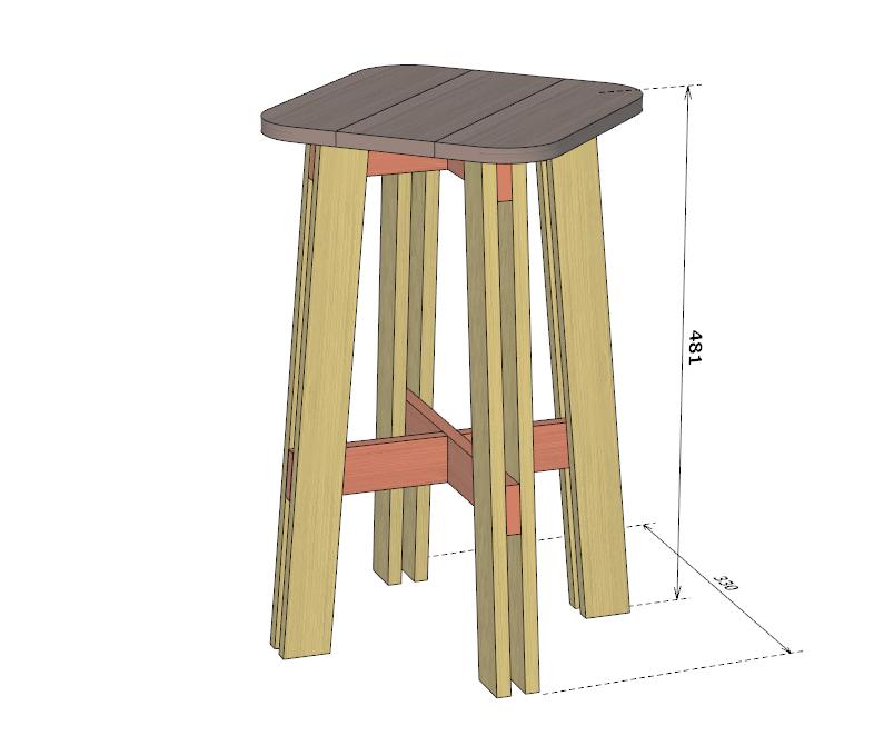 自作スツールの設計図