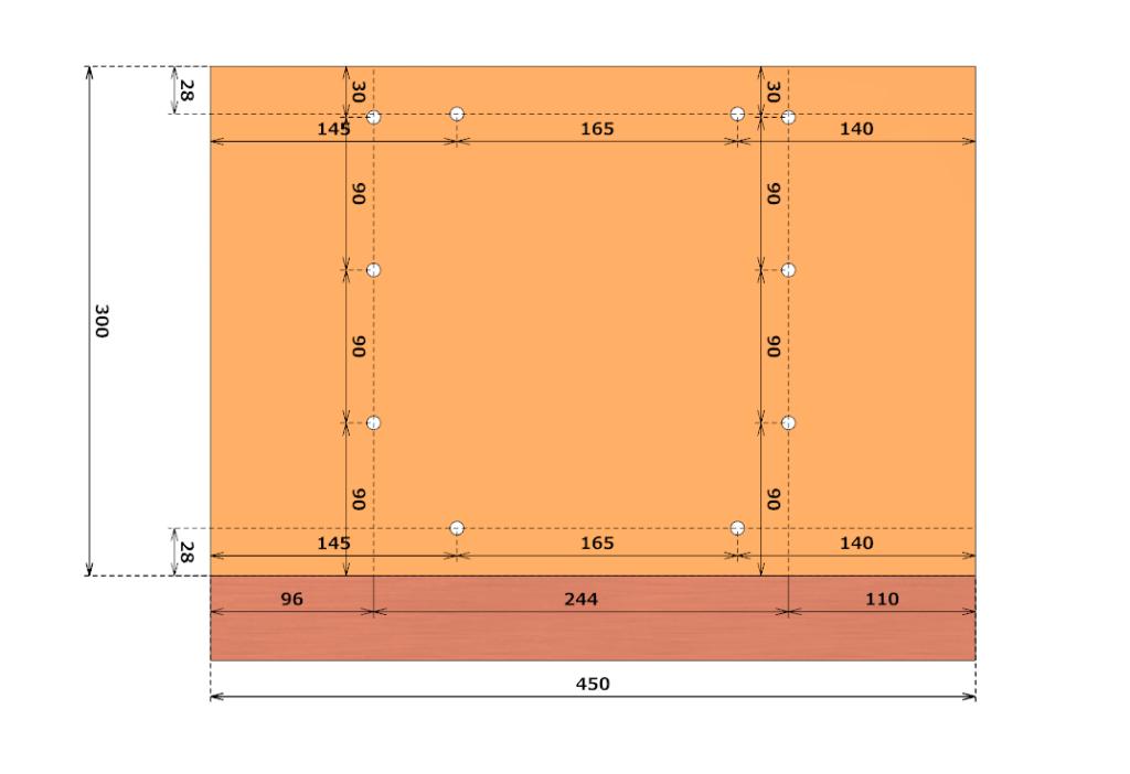 表板の穴の位置詳細
