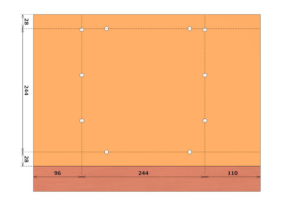 表板の穴は、フェンスの穴の幅と同じ244mm