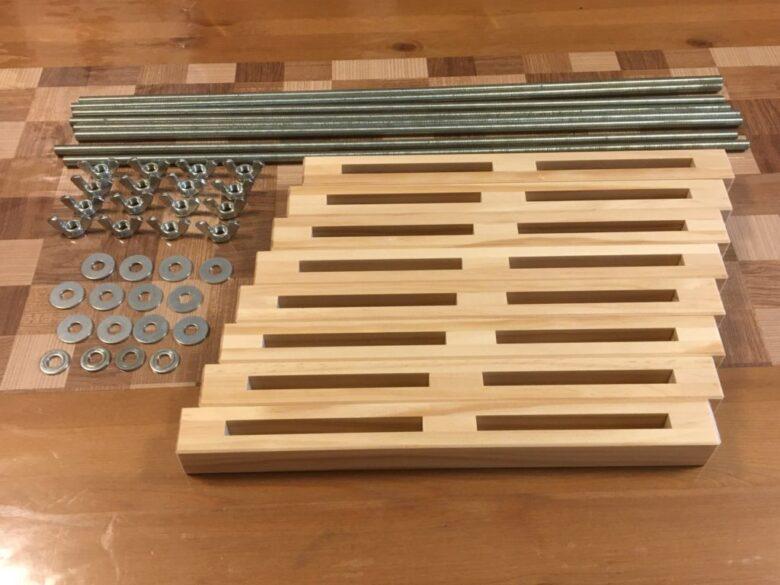 自作木工クランプの部品一式