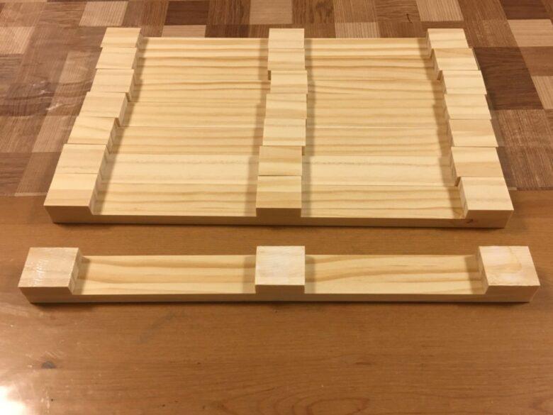 300mmの材料に30mmの木材を接着