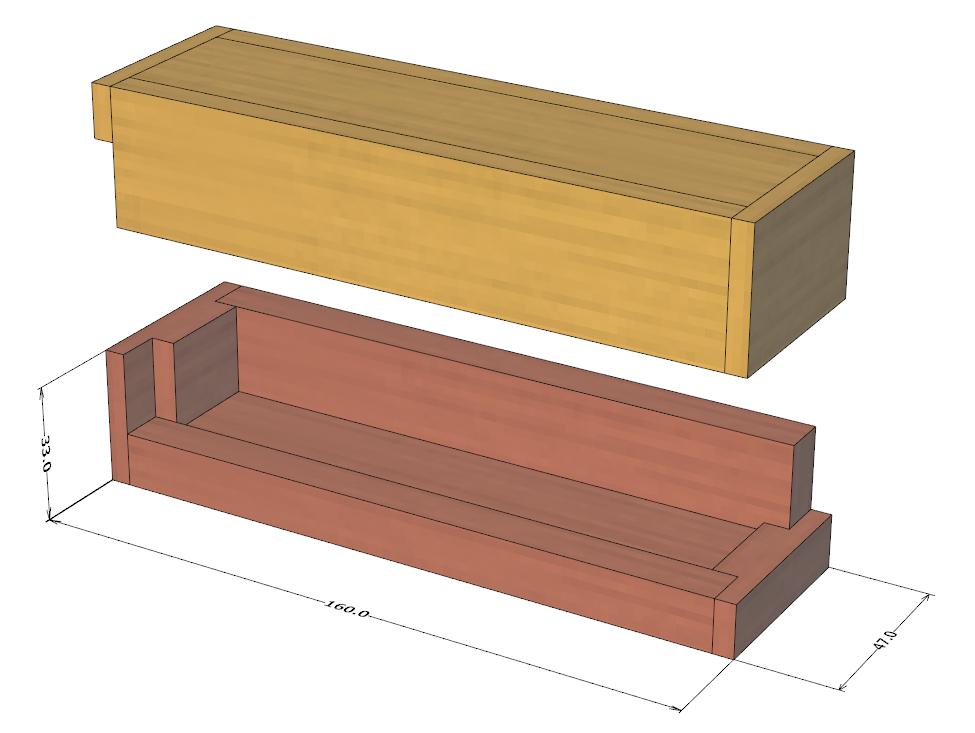 ダイスケースの設計図(全体図・開いた状態)