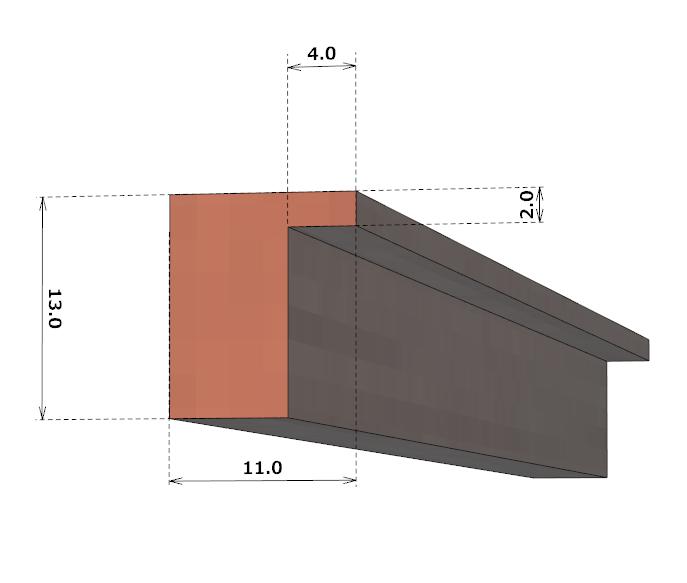 厚さ2mmを残す切り欠きが必要な部品