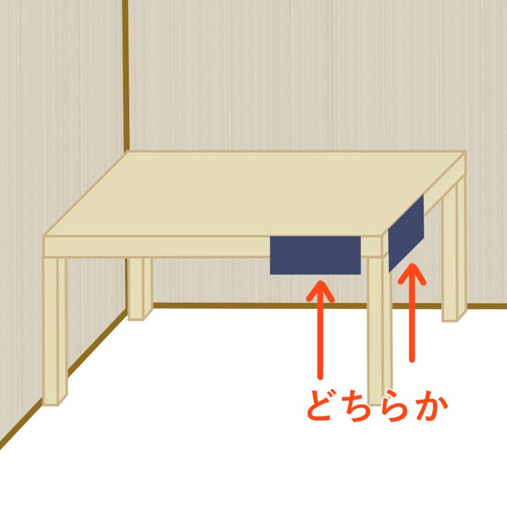 作業台が壁際にある場合のベンチバイスの位置