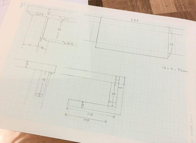 作業台(テーブル)の取り付け位置周辺を採寸する