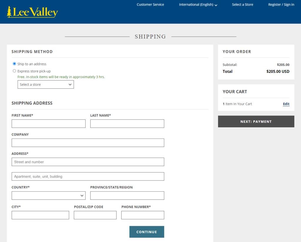 Lee Valley 発送方法登録画面