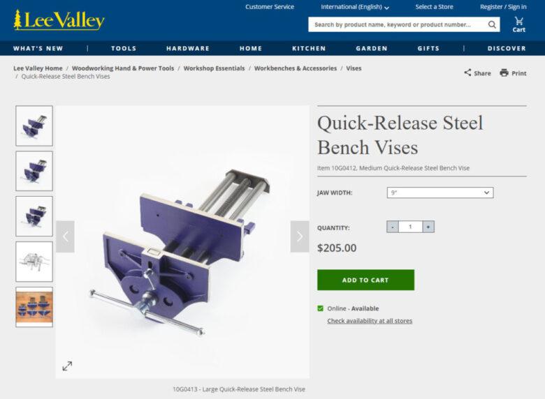 Lee Valley Quick-Release Steel Bench Vise 9 in