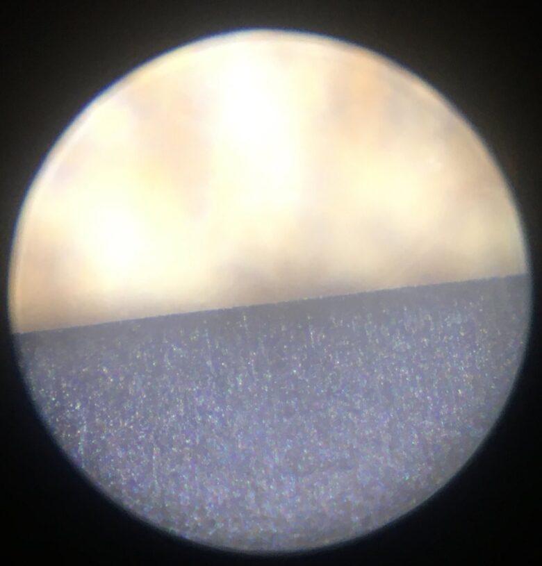 革砥で研いだ鉋刃(顕微鏡写真x100)